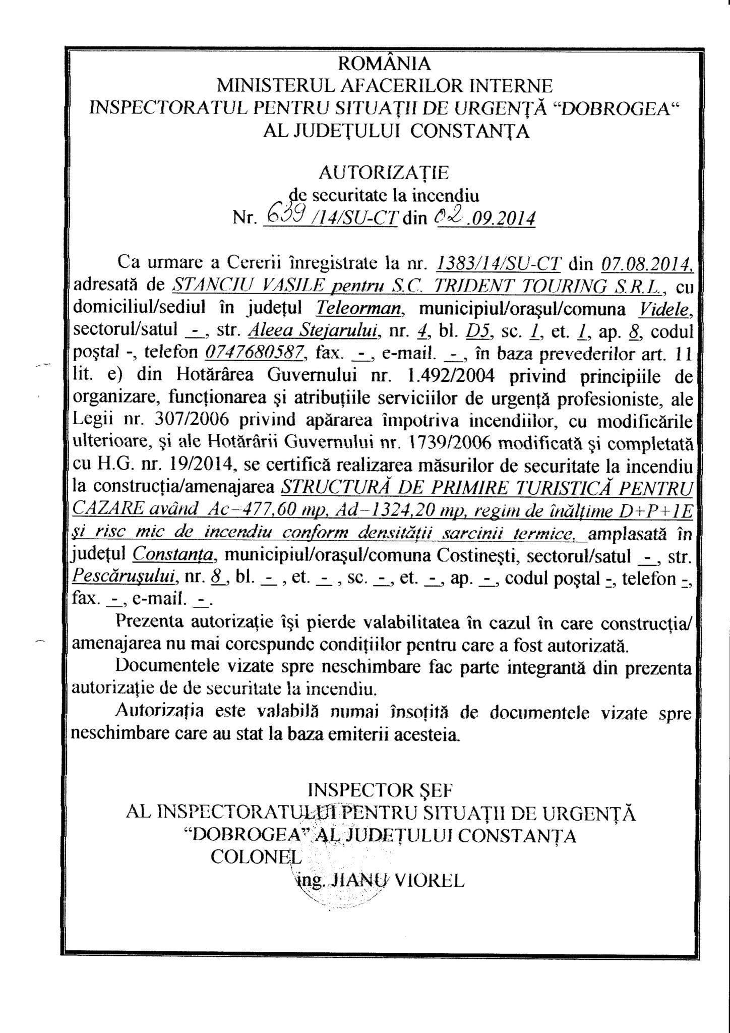 Autorizatie ISU DOBROGEA TRIDENT1